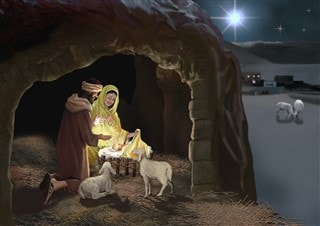 The star shining over Bethlehem